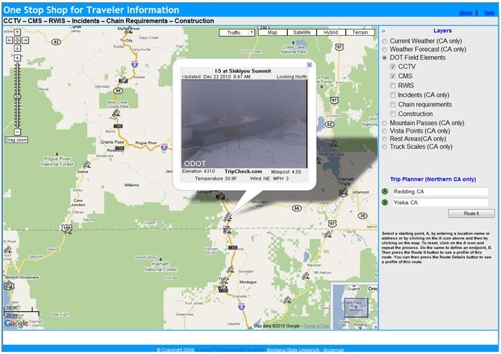 OSS screenshot (12/22/2010): CCTV image of I-5 at Siskiyou Summit