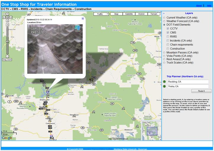 OSS screenshot (12/22/2010): CCTV image at Obrien near Mt. Shasta shows rain rather than snow.