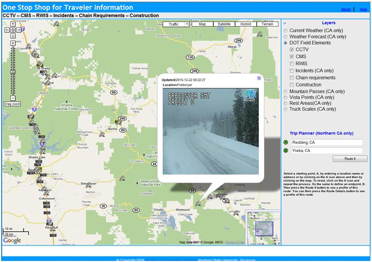 OSS screenshot (12/22/2010): CCTV image of Fredonyer Summit west of Susanville