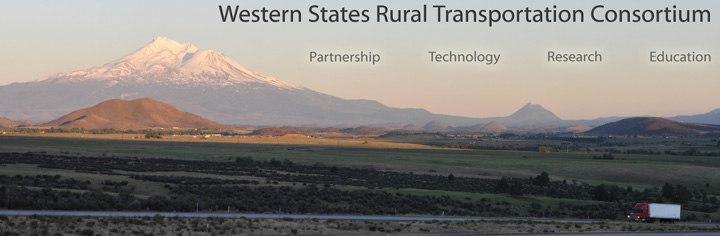Summer scene, snow capped mountain sunlit in the background, Interstate highway with a lone semi in the shadowed foreground; the words Partnership, Technology, Research, Education overlaid on image.