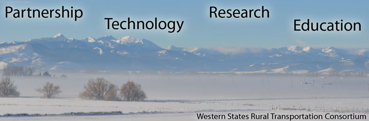 Winter scene, traffic light emerging from fog, snow-covered mountains in background; the words Partnership, Technology, Research, Education overlaid on image.